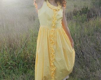 YARROW Day Dress 1950's Vintage Golden Yellow Ruffles Mid Century Cotton  Size Large