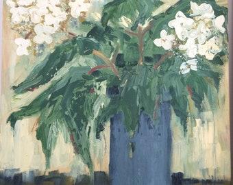 16x12 - Oak Leaf Hydrangea - Still Life Oil Painting - Floral Painting - Framed Wall Art