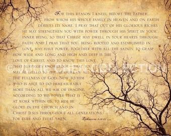 Scripture Art Print - Bible Verse Art - Prayer to KNOW the LOVE of GOD - Ephesians 3