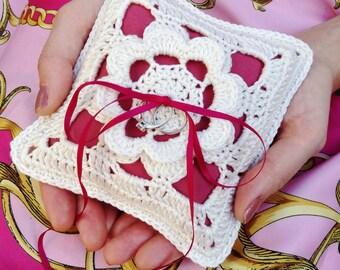 Bright pink ring pillow, pink wedding ring bearer pillow, crochet ring cushion, lace ring pillow, vintage wedding pillow, velvet ring pillow