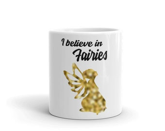 fairy, gold, coffee cup, mugs, gift for her, housewarming gift, birthday gift, fantasy, coffee, kitchen decor