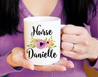 Nurse Mug Personalized Nurse Gift - Custom Coffee Mug - Watercolor Floral Mug - Nursing School Graduate Mug - Watercolor Flower Mug Gift