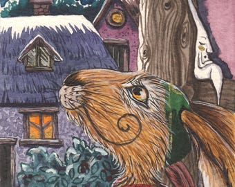 Moonlit Tranquility - Matlock the Hare - Whimsical signed archival art print.