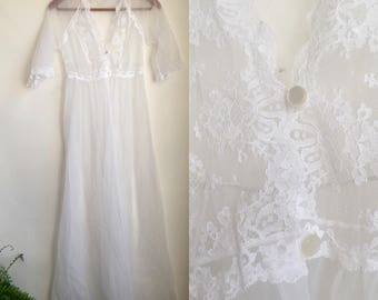 Vintage Lace Lingerie Nightie White Sheer Long Gown