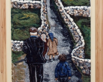 S A L E *********Irish Original Needle Felted Painting CORINA HOGAN Aran Island Walk To Mass OOAK 3d