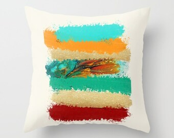 Colorful Pillows, Turquoise Pillow, Teal Orange Pillow, Red and Yellow Toss Pillow Covers Decorative Throw Pillows 16x16 18x18 20x20 24x24