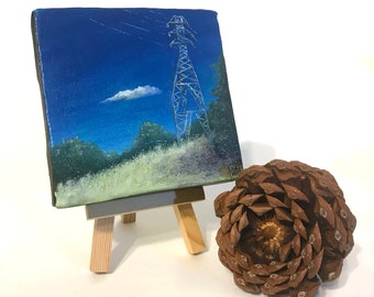 Electric Summer Afternoon - miniature painting, small painting, mini painting, tiny painting, oil painting