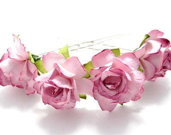 Tickled Pink Rose Floral Hair Pin Set/ Bridal/ Wedding Hair Accessories/ Bridesmaid Hair Pin/ Wedding Flower Pins