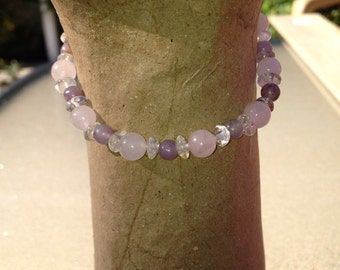 Rose Lilac & Clear Quartz Law of Attraction Love Energy Manifestation Stacking Stretch Bracelet•Law of Attraction Jewelry•Crystal Healing