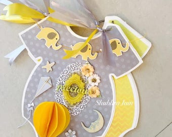 Baby shower guest book, Yellow and grey baby shower party decor, guest book, baby shower
