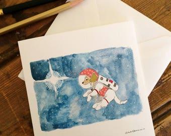 Space Dog Art Card