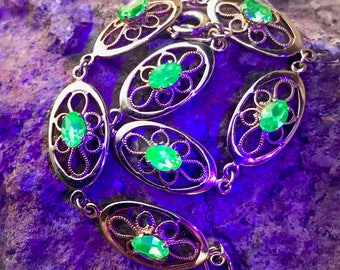 Vintage Gold Filled Vaseline Uranium Glass Bracelet Filigree Signed by Deltah Designer Glows Free Black Light