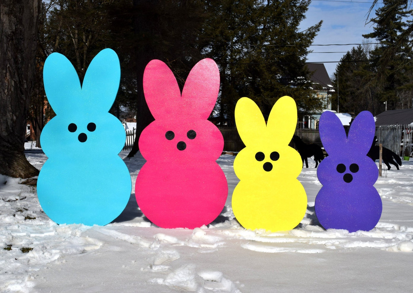 Giant Easter Peeps Yard Art Outdoor Easter Decoration