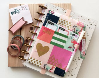 Planner accessories bag - planner charm - planner cover - floral planner bag - cheater quilt - cute planner pouch - BUJO cover - pen pouch