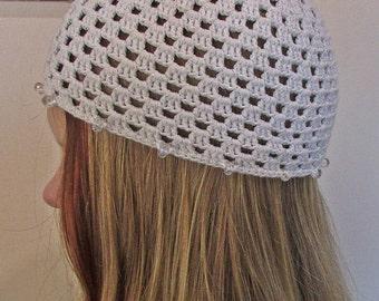 Handmade White Crochet Beanie, Woman White Hat, Teen Crochet Hat, Woman Crochet Hat, Teen Crochet Beanie, Woman Crochet Beanie with beads