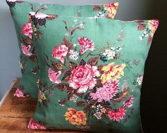 Vintage Sage Green Floral Barkcloth Fabric Cushion