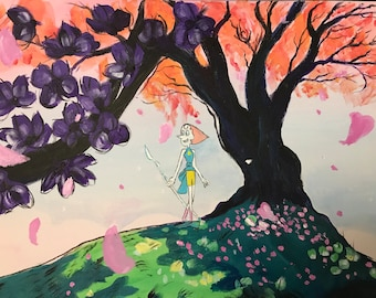 Handmade Acrylic Painting On Stretched Canvas 16x20, Steven Universe, Pearl, TV Series, Wall Art, Home Decor, Gift Idea, Colorful