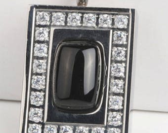 Large Pendant With CZ's and Dark Center Stone Cremation Pendant (Chain Sold Separately)