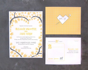 Melanie and  Jake - Modern Country Invitations and RSVPs