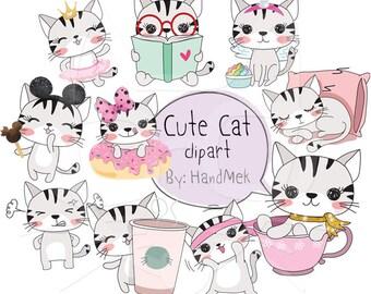 Cute CAT set 1 ,Kawaii cat clipart instant download PNG file - 300 dpi