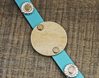 Belgian coin cuff bracelet, light blue leather, five francs, 7 3/4 inches long