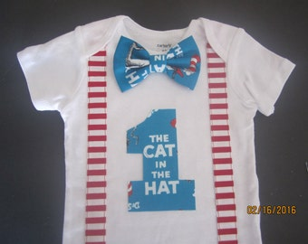 Blue bow tie birthday outfit, Boy first birthday shirt, Boy 1st birthday bodysuit, red white stripe suspenders outfit, Dr. seuss birhtday