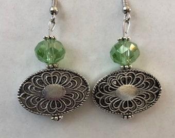 Green drop earrings