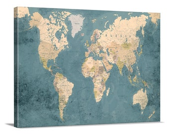 world map canvas print single panel world map push pin canvas print large wall