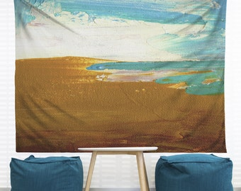 Dockweiler Beach Hanging Wall Tapestry. Home Decor, Dorm, Nautical, Abstract Painting, Modern Art, Headboard Tapestry, Beach Decor