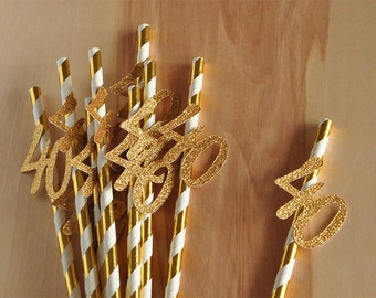 40th Birthday Decoration Straws 10CT. Handcrafted in 2-5 Business Days.  Metallic Gold Straws with Gold 40.