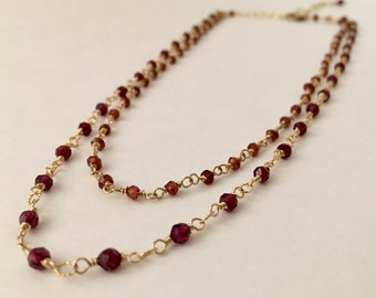 Garnet gemstone gold double strand gold necklace