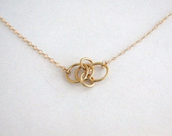 Linked Circle Necklace, Small Circles Necklace, Gold Circle Necklace, Gold Link Necklace, Gold Multi Circle Necklace - 14k Gold Fill Chain