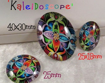 Glass Cab(photo/decal) - 'Kaleidoscope' - Your choices (Cabochon Size,Lot Size) - SKU 05.14.17 - B16,B17,Q16