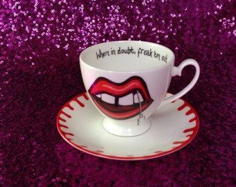 """Sharon Needles """"When in Doubt, Freak 'em Out"""" tea cup and saucer - Rupaul's Drag Race"""