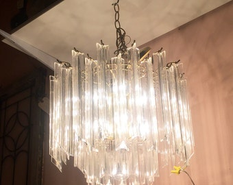 Vintage Lucite and brass Hollywood Regency Chandelier Light Fixture