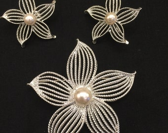 Vintage Sarah Coventry Brooch & Earrings