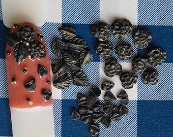 Nail charms Black Roses set