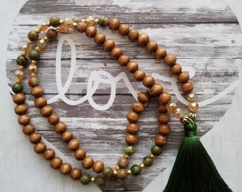 Olive Tassel/Beaded Necklace