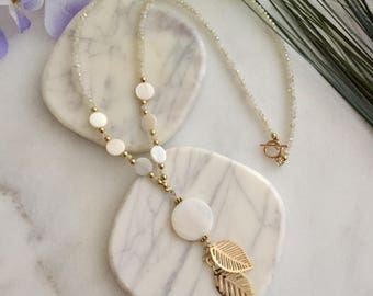 Pearl Crystal and Gold Lariat Necklace
