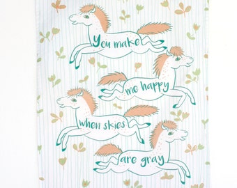 Orange Dapple Ponies Tea Towel - Hand made - Tea Towel - You make me happy Aphorism
