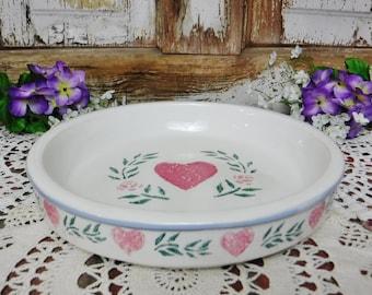Stoneware Baking Dish/Quiche Pan/Hearts & Flowers Spongeware/Country Kitchen/White Pink Blue Green/The Crock Shop Santa Ana Ca/Vintage