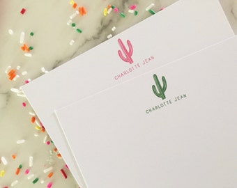 Cactus Stationary - Kids Personalized Stationery Set of 20 Flat Note Cards