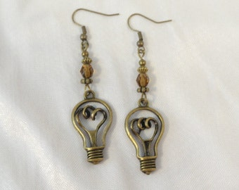 Steampunk  Earrings Edison Light Bulb