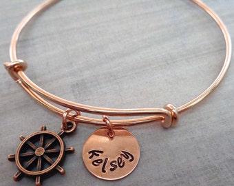 Nautical Bangle Bracelet - Personalized Compass Ship Wheel Take the Wheel Bangle - Personalized  Names Initials - Rose Gold Bangle -B40