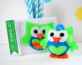 Felt Owl Sewing Kit, Owl Ornament, Felt Hand-Sewing Kit , Craft Felt Sewing Kit, Kid Sewing Kit, Mini Felt Sewing Kit READY TO SHIP A793