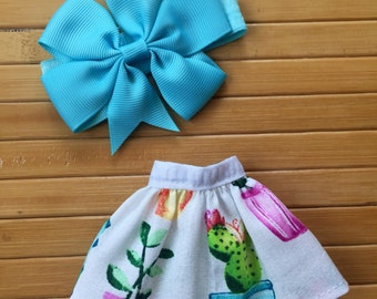 Suspender Skirt and Bow Headband Set for Neo Blythe - Cactus Plants Pink Blue