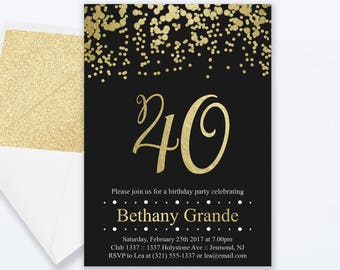 40th birthday invitations 40th birthday party invitations 40th birthday invitations gold confetti invitation milestone invite 40th birthday invite 40th filmwisefo Image collections
