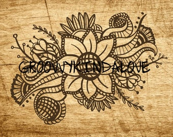 Floral Flower Nature Instant Download for Electronic Cutters silhouette cricut vinyl digital decal hippie chic t shirt heat transfer
