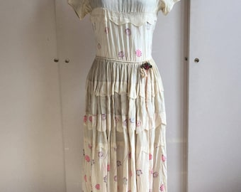 1920's Silk Floral Day Dress