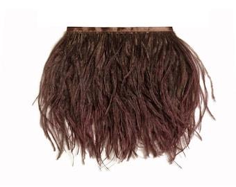 Ostrich Plumes, 1 Yard - BROWN Ostrich Fringe Trim Wholesale Feather (bulk) : 3518